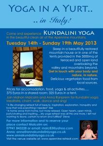 Yoga in a Yurt, Anna Ranprem, Anna Browne Malcolm Medley, Mahan Deva, May 2013, Italy