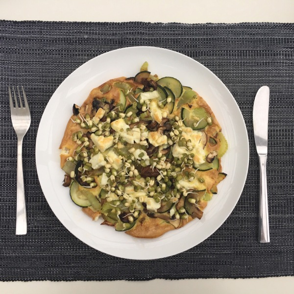 Leek, cougette & feta omelette 2